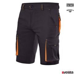Bermuda Stretch bicolor multibolsillos Velilla Ref. 103010S - Negro/Naranja
