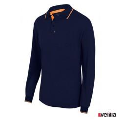 Polo bicolo ML Velilla Ref. 105515 - Marino/Naranja